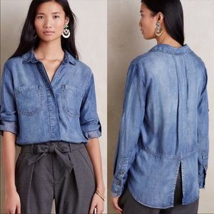 Cloth & Stone chambray large split back shirt